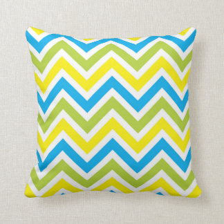 Green, Blue, White & Yellow Chevrons Pillow