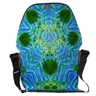 Green Blue Zebra Abstract Messenger Bags