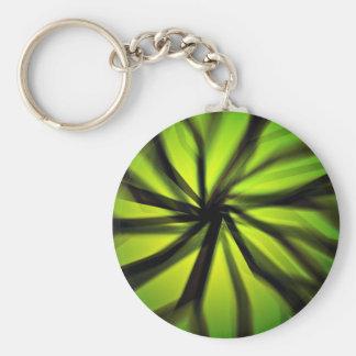 Green Blurred motion pattern Basic Round Button Key Ring