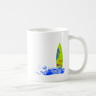Green board in the waves mugs