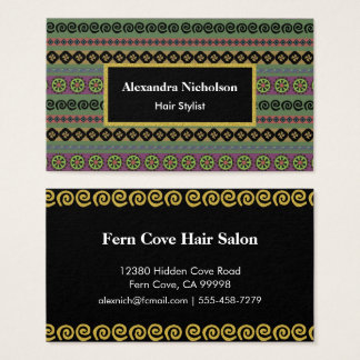 Green Boho Aztec Pattern Hipster Tribal Business Card