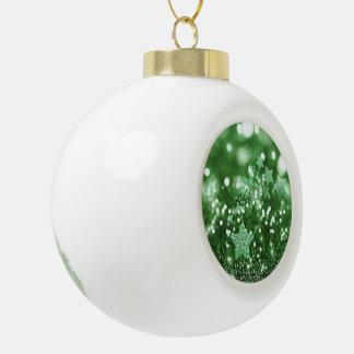 Green Bokeh Faux Glitter & Stars Ceramic Ball Decoration