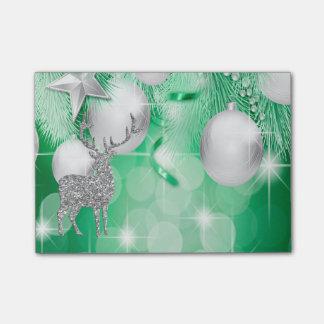 Green Bokeh Ornament Balls Silver Reindeer Joy Post-it Notes