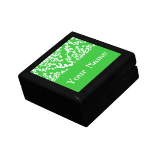 Green Bold Damask w name Emporiomoffa Trinket Boxes
