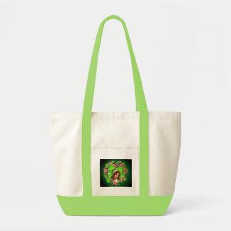 GREEN BONNET & SHAMROCK by SHARON SHARPE Impulse Tote Bag