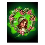 GREEN BONNET & SHAMROCK by SHARON SHARPE Post Card