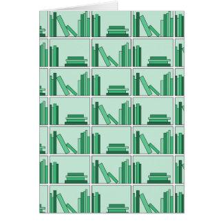 Green Books on Shelf. Greeting Card