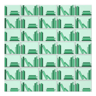 Green Books on Shelf Invitation