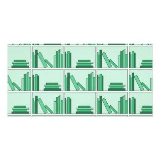 Green Books on Shelf Customized Photo Card