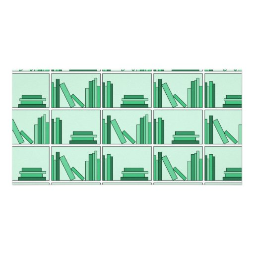 Green Books on Shelf. Customized Photo Card