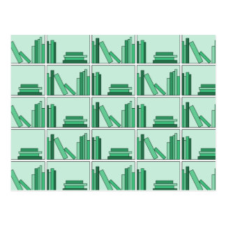 Green Books on Shelf Postcard
