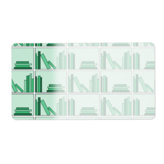 Green Books on Shelf. Shipping Label
