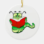 Green Bookworm with Glasses Reading a Red Book Round Ceramic Decoration