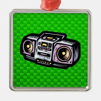 Green Boombox Silver-Colored Square Decoration