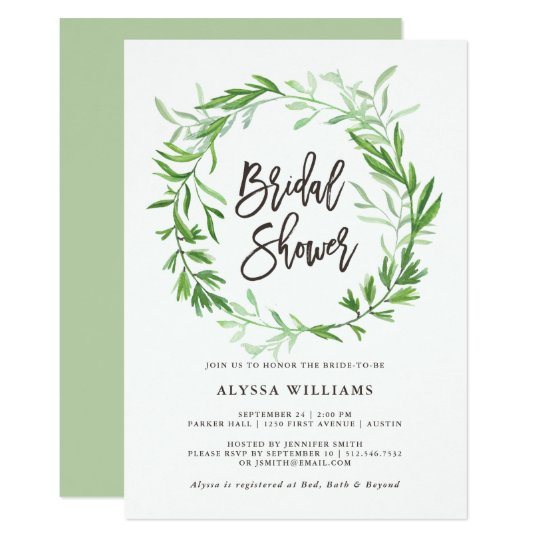 Green Botanical Leaves Wreath Bridal Shower Card
