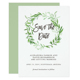 Green Botanical Leaves Wreath Save the Date Card