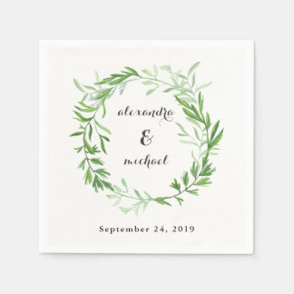 Green Botanical Leaves Wreath Wedding Disposable Napkins