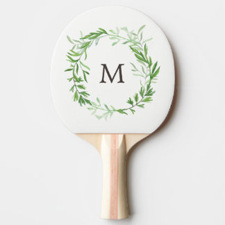 Green Botanical Leaves Wreath with Monogram Ping Pong Paddle