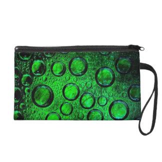 green. bottle-glass wristlet clutch