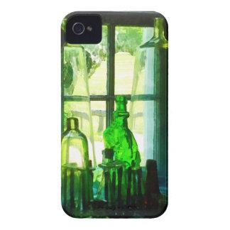Green Bottles on Windowsill iPhone 4 Cases