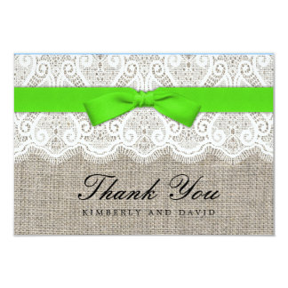 Green Bow and Lace Wedding Thank You Card Personalized Announcement