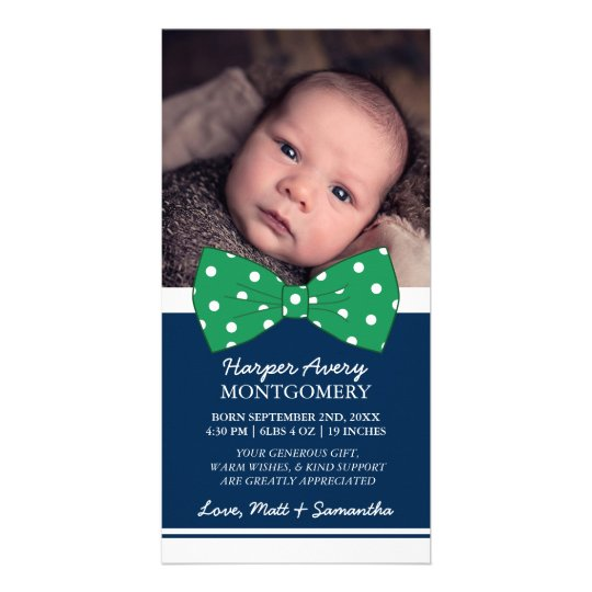 Green Bow Custom Photo Baby Shower Thank You