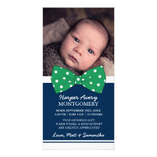 Green Bow Custom Photo Baby Shower Thank You Photo Cards