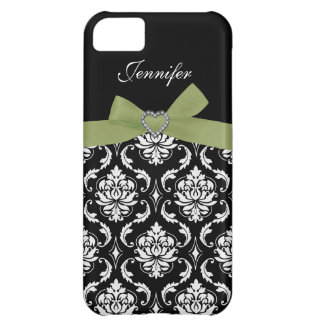 Green Bow with Black Damask iPhone Case