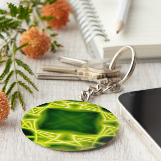 Green Boxes Basic Round Button Key Ring