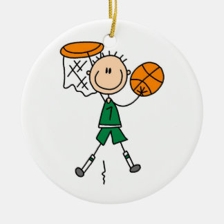 Green Boy Basketball Player t-shirts and Gifts Christmas Ornament