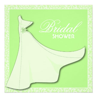 Green Bridal Gown - Bridal Shower Invitation