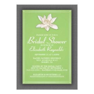 Green Bridal Shower Invitations Cards