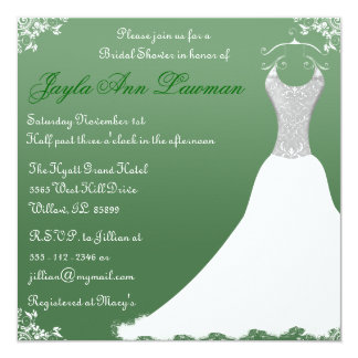 Green Bridal Shower Wedding Gown Invitation