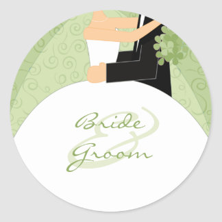 Green Bride and Groom Wedding Stickers