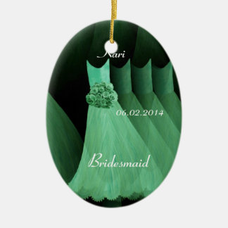 Green Bridesmaid Thank You Wedding V004 Ceramic Oval Decoration