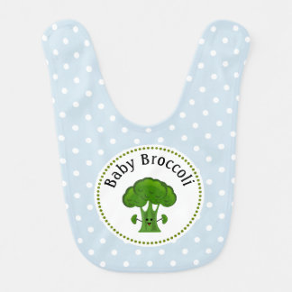 Green Broccoli Blue and White Polka Dots. Bib