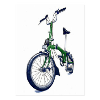 Green Brompton bicycle Postcard
