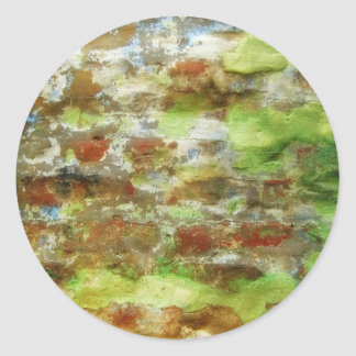 Green & Brown Abstract Painting Round Sticker