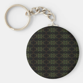 Green, brown and black retro floral pattern. key chain