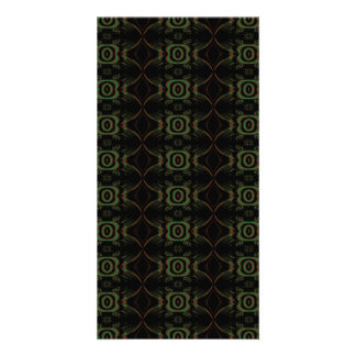 Green brown and black retro floral pattern personalized photo card