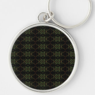Green, brown and black retro floral pattern. Silver-Colored round key ring