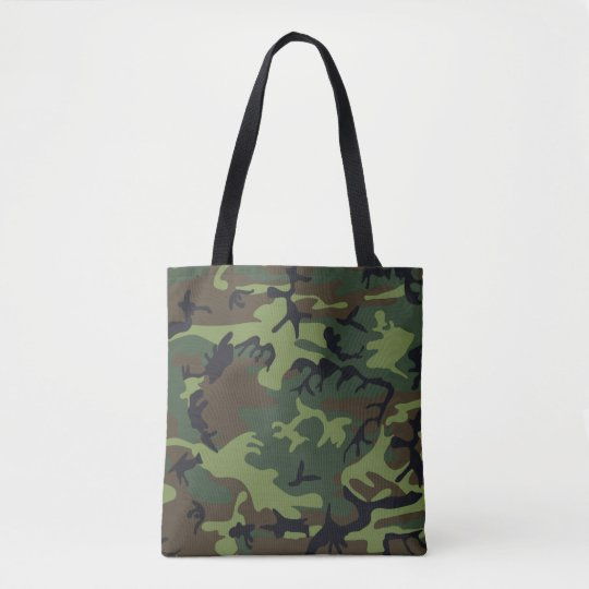 Green, Brown, Black Camo Camouflage Tote Bag