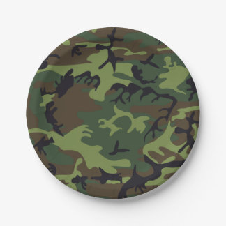 Green Brown Camouflage. Camo your Paper Plate