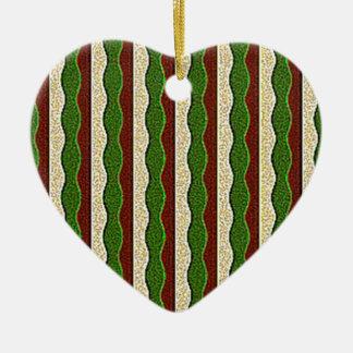 Green Brown Cream Stripes Pattern Ornaments