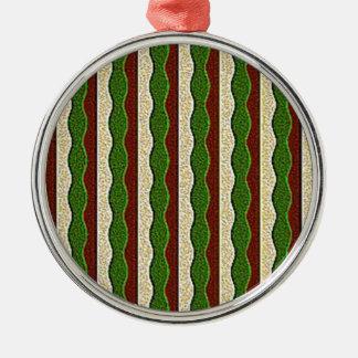 Green Brown Cream Stripes Pattern Christmas Ornaments