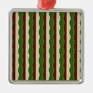 Green Brown Cream Stripes Pattern Christmas Tree Ornament
