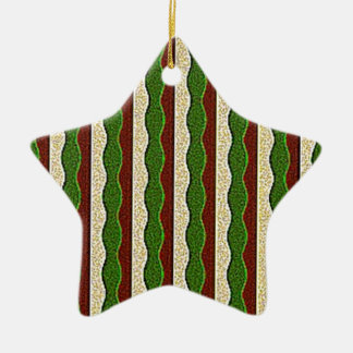 Green Brown Cream Stripes Pattern Christmas Tree Ornaments
