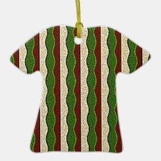 Green Brown Cream Stripes Pattern Christmas Ornament