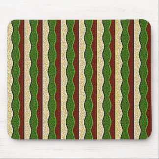 Green Brown Cream Stripes Pattern Mouse Pad