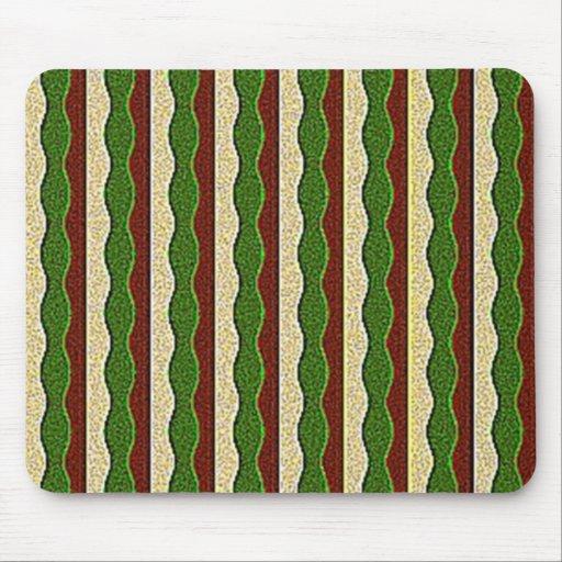 Green Brown Cream Stripes Pattern Mousepads
